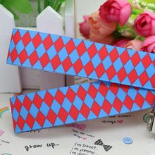 7/8'' Free shipping plaid square printed grosgrain ribbon hairbow diy party decoration wholesale OEM 22mm P2040