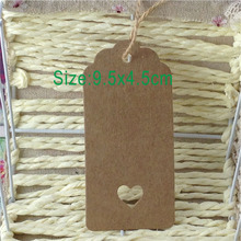 200 tags/lot with free strings Kraft paper labels lace scallops head luggage wedding etiquette Rating DIY chain Blank hang tag(China)