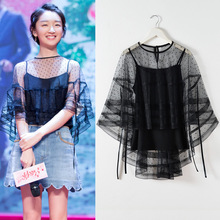 2017 runway pullover women 2 pieces sexy black see through lace polka dot mesh cape top blouse and spaghetti strap shirt sets