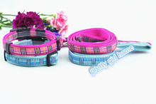 Blue /pink dog Plaid Design collar for small dog chihuahua Safety Neck Leash Set dog Collar Harness Free Shipping