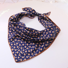 2017 Spring Small Square Silk Scarf Female Brand Flowers Printing Foulard NeckerChief Fashion Bandana Silk Scarves Lovely Girls(China)