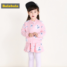 balabala tracksuit for girls petty girl clothes cotton long sleeved clothing 2pcs set flower jacket+leggings for spring autumn(China)