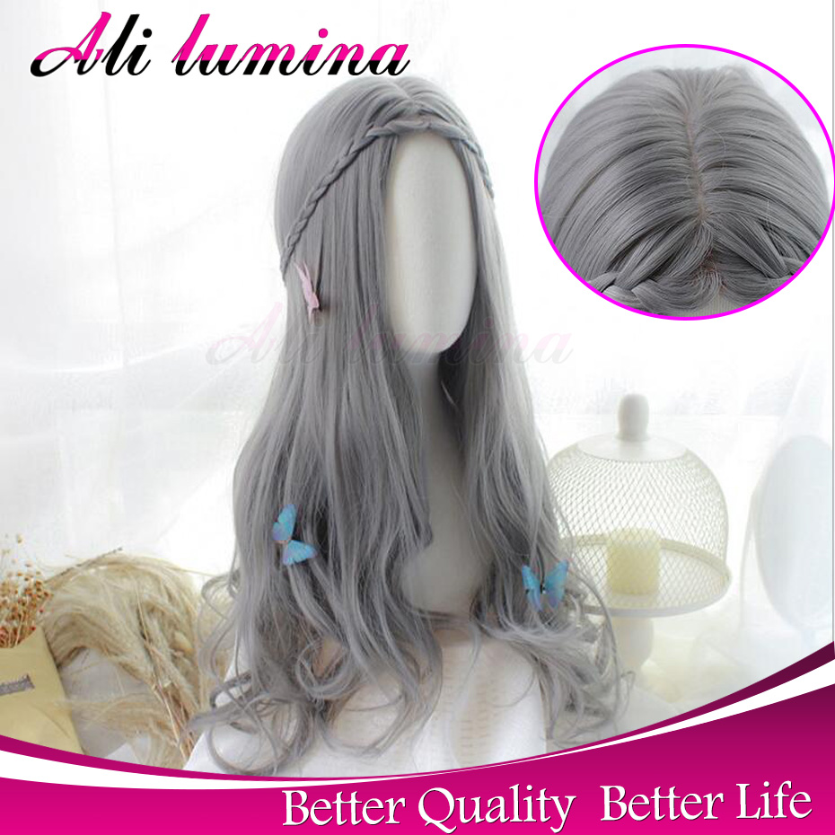 Cheap Wigs For Women U Part Synthetic Curly Wig Heat Resistant Gray Synthetic Lace Front Wig Long Grey Wig Lolita Cosplay<br><br>Aliexpress