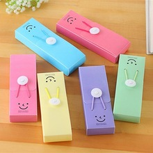 Smiling Face Pencil Case Box Punch School Supplies Practical Stationery Cute Candy Color PP Pencil Bags Gift for Students(China)