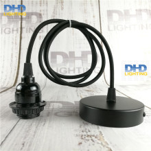 Sample order E26 UL Edison lamp fixture black bakelite threaded socket plastic lamp holder with black cable and ceiling plate