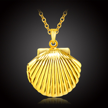 Fashion Shell locket necklace for women girl gold color jewelry fashion classic photo floating charm kids necklaces & pendants