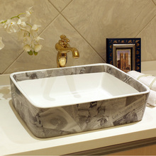 Rectangular Blue and white Jingdezhen ceramic sink wash basin Ceramic Counter Top Wash Basin Bathroom Sinks small laundry sink(China)