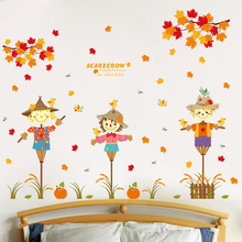 Wall Sticker Autumn Scarecrow Maple Leaf Wall Sticker For Kids Rooms Children Infant Girls Living Room Stickers Home Decor