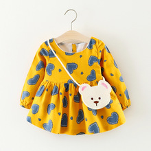 0-2Y Baby Girls Dress Cute Heart Print Toddler Dress With Bag Kids Clothes Children Clothing Girls Dresses 2 Colors(China)