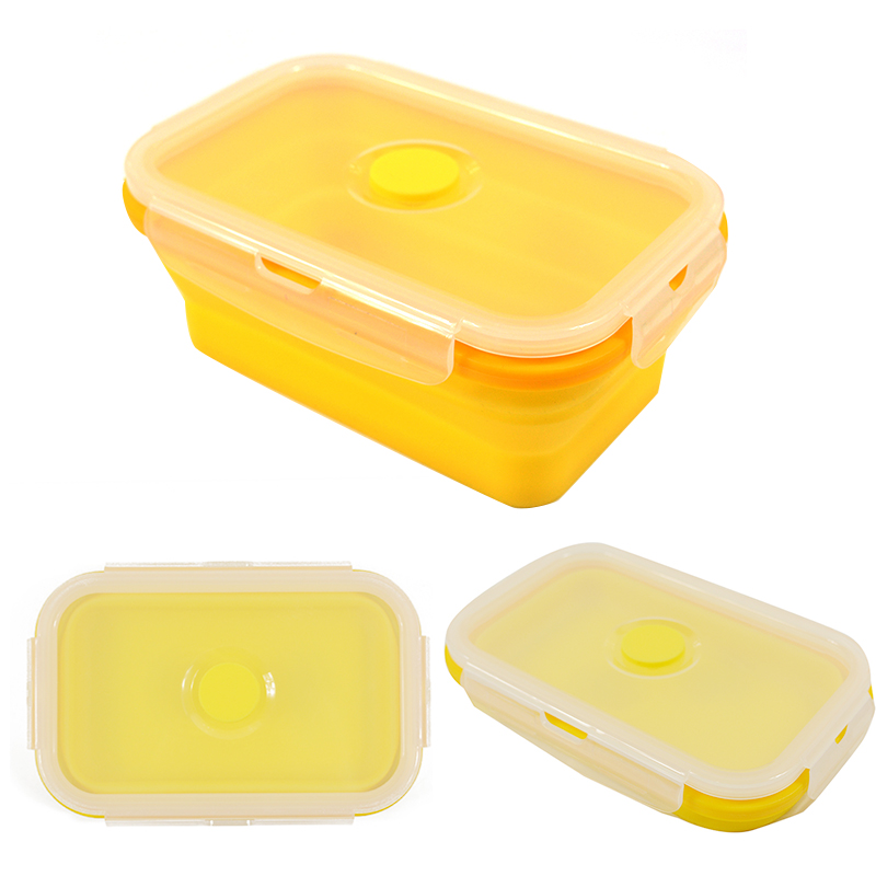 Folding Silicone Lunch Box Food Storage Container Kitchen Microwave Tableware Portable Household Outdoor Food Fruit Organizer 4