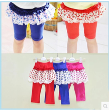 Summer New style baby girls leggings Girls cotton lace tutu Skirt-pants baby pants  red/rose/blue color kids pants summer