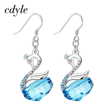 Cdyle Crystals From Swarovski Dangle Earrings Women Earring Luxury Gold Blue Fashion Jewelry Elegant Swan Austrian Rhinestone(China)