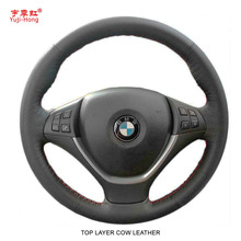 Yuji-Hong Top Layer Genuine Cow Leather Car Steering Wheel Covers Case for BMW X5 X6 E70 E71 2008-2013 Hand-stitched Cover(China)