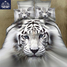 3D Animal Duvet Cover King/Queen Size Tiger White Cotton Blend Hot Sale 3D Bed Cover Bedding Sets(China)