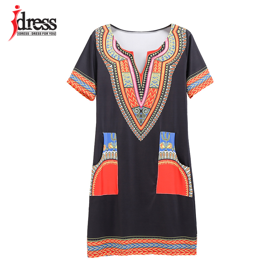 IDress S-XXXL Plus Size Sexy Casual Summer Dress Women Short Sleeve Party Dresses 2017 Black Vintage Traditional Printed Dresses (15)