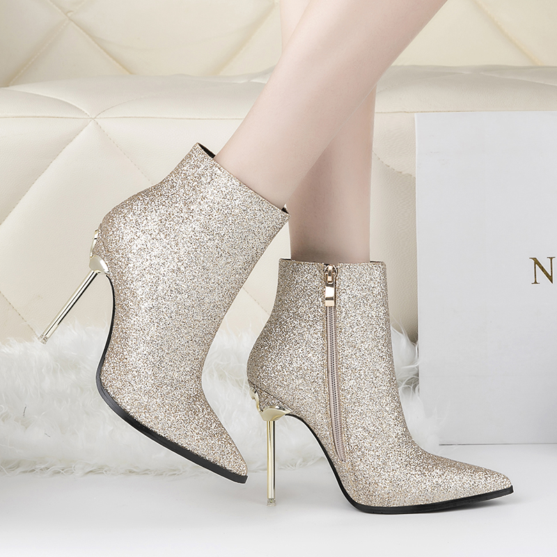 Qitong Euro size 34-39 Size Sexy Autumn and Winter High Thin Heel Shoes Zipper Slim Shinning PU Boots Party and Nightclub Shoes<br>