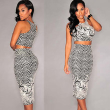 Sexy Black White Print Two Pieces Dress Set Woman Club Dress Nice Quality Midi Bodycon Dress with S M L Sizes  L27733