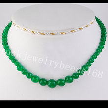 "Free Shipping Fashion Jewelry 6~14mm Green Jad Ball Beads Necklace 17"" FG3278"