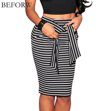 BEFORW Brand Skirts Womens Fashion High Waist Stripe Lacing Skirt Big Size White And Black Sexy Bodycon Long Skirt For Women