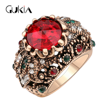 Gukin Rings For Women Plating Ancient Gold Vintage Jewelry Ottoman Style Jewelry game of thrones Crystal Ring(China)