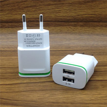 SZHXNOR Smart LED Light EU Plug 2 Ports USB Charger 5V 2A Fast Wall Adapter Mobile Phone Charging For iPhone 5 6 7 iPad Samsung