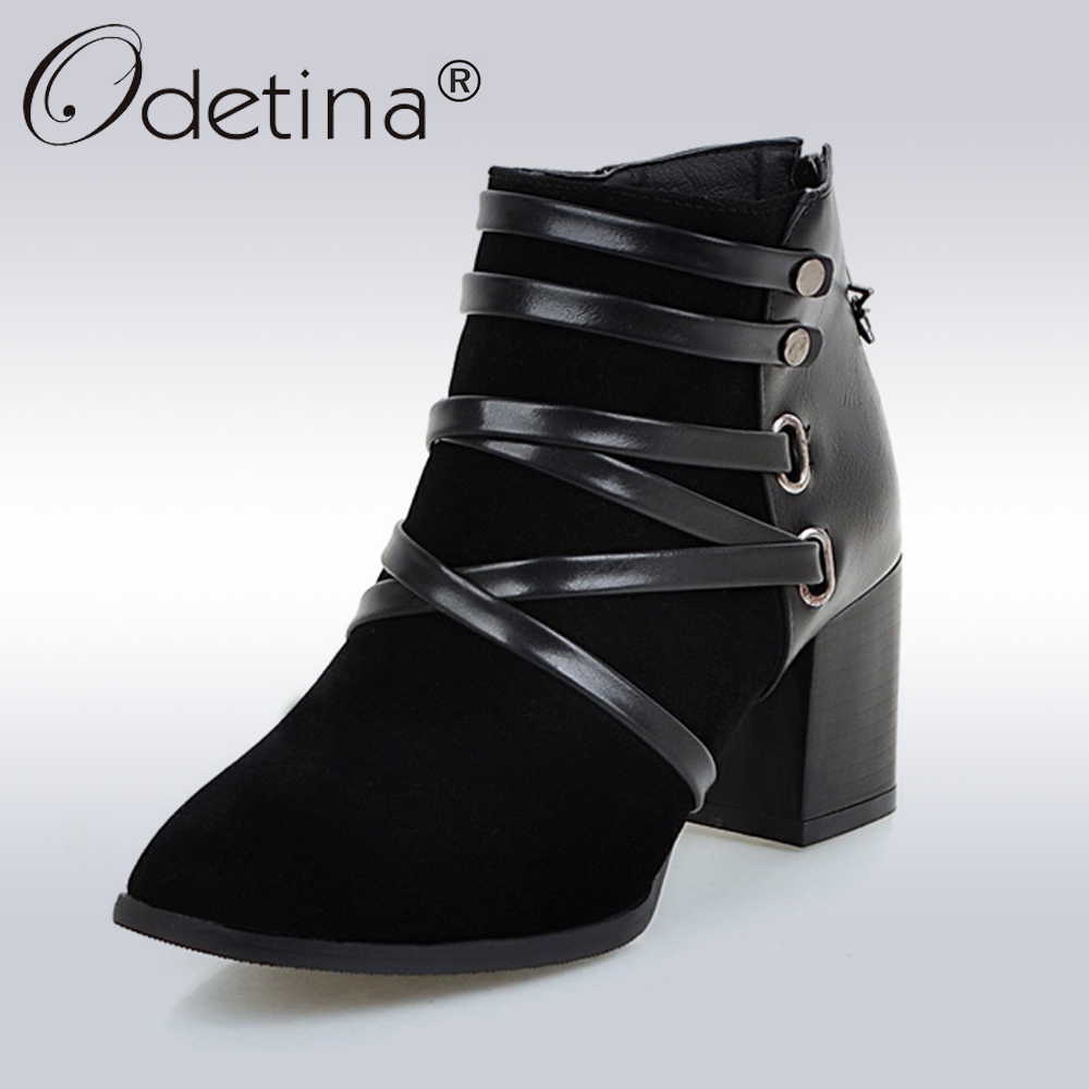 2017 New Arrivel Autumn Suede Ankle Boots Women Fashion Gladiator Heels Shoes Ladies Suede Booties Riding Boots Plus Size 43<br>
