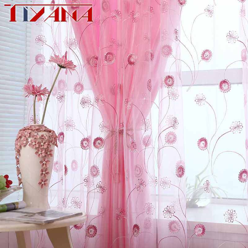 High Quality Pastoral Sheer Curtains Sequin Floral Circle Embroidery Curtain Yarn For Living Room Tulle For Balcony WP255&30
