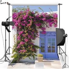 Flower House Vinyl Photography Background Backdrop Blue Door Photo New Fabric Flannel Background For Children Photo Studio 2122