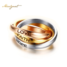 "Meaeguet Unique Three Rings 3 Rounds Gold-Color Rings For Women and Men Party Jewelry ""HOPE FAITH LOVE"""