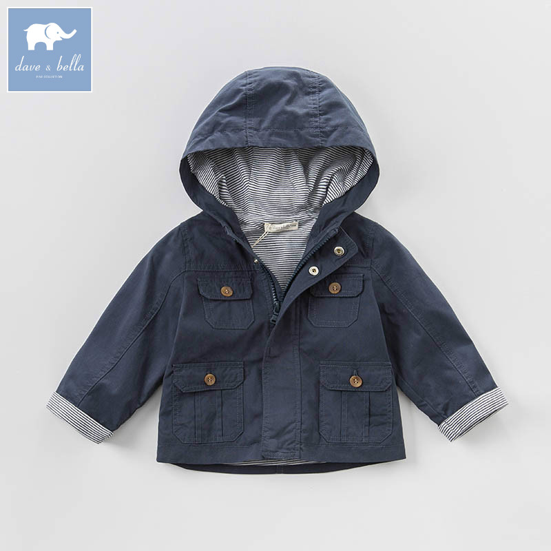 DBA6457 dave bella spring infant baby boys fashion hooded coat kids toddler children hight quality clothes <br>