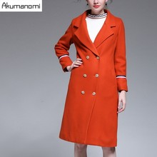 Winter Long Worsted Suit Jacket Orange Turn-down Collar Thicken Women Blends Overcoat Winter Coats Women Clothes Overcoat 5XL-L(China)