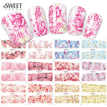 12 Designs in 1 Peach Blossoming Nail Art Full Wraps Water Transfer Stickers Decals DIY Nail Tips Decor Beauty Tools LABN073-084(China)