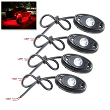 "4x Red 9W Led Rock Light Waterproof 2"" Led Rock Work Lights Universal Fit For Jeep SUV Tractor 4x4 4WD Under Body Trail Rig Lamp"