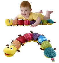 60cm soft Baby Toys Musical stuff Caterpillar with Ring Bell Cute Cartoon Animal Plush creative Doll Early Educational