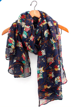 2014 fall fashion women scarves animal printed owl scarf cute scarf owl with branch voile long shawl navy blue