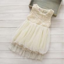5pcs/lot Wholesale Elegant Girl Lace Flower Tulle Lantern Rosette Dress Toddler Tiered Guaze Ball Gown Dress For Kids
