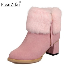 Winter Plush Real Leather Boots Thickened Fur Women Ankle Snow Boots Ladies Zipper Square High Heel Botas Women Shoes Size 32-43