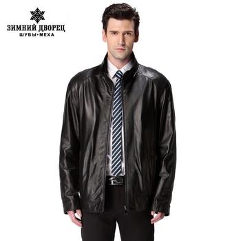 Новый горячий кожаная куртка, Натуральная кожа, Мандарин воротник, Овчины, Тонкий, Человек пальто, Весна осень мужчины кожаное пальто