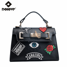 DOLOVE   2017 new badge kelly bag, with a floral messenger bag and a single shoulder strap across a handbag