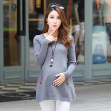8969# A Line Knitted Maternity Sweater 2017 Autumn Fashion Pullover Clothes for Pregnant Women Plus Size Slim Pregnancy Clothing