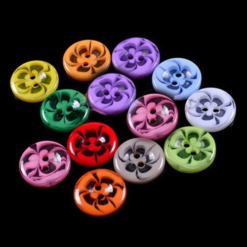 100pcs Mixed Flower Resin Buttons 2 Holes Sewing Scrapbook Cardmaking Craft 14mm(China)