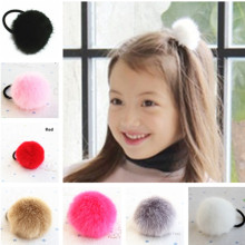 Super Cute 5-6cm Size Pom Faux Fur Ball Girls' Hair ties Ponytail Holder Kids Accessories