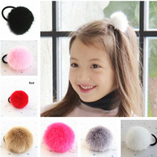Super Cute 5-6cm Size Pom Faux Fur Ball Girls' Hair ties Ponytail Holder Kids Accessories(China)