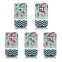 For Apple iPhone 4 4S Case Wavy Lines Flower Design Case 3in1 High Impact Heavy Duty Hard Rugged Rubber Case Cover For iPhone4S