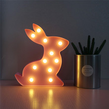 DELICORE 11 Leds Pink Rabbit Marquee Night Lights LED Battery Children Baby Cute Night Lamp Bedroom Decora Light S105(China)