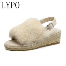 LYPO  new hair slippers Peep Toe Buckle Soft Fur Insole Cozy Fashion Wedge Platform Women's Shoes  sandals