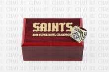 Year 2009 New Orleans Saints Super Bowl Championship Ring 10-13Size BREES Fans Gift With High Quality Wooden Box(China)