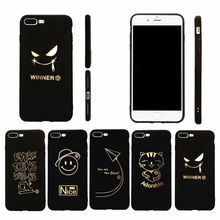 plain Black stick gold flash cell phone shell phone cases for Apple iphone 5 6 6plus 7 7 plus Noble black gold mobile phone soft