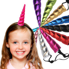 1PC Unicorn Horns Hairband Costume Headdress Colorful Hair Band Children Hair Accessories Birthday Party Gift(China)