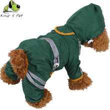 Dog Waterproof Polyester Raincoat Adjustable Elastic With Reflective Tape Four Leg Green Red Yellow Size XS-XXL Pet Dog RainCoat